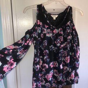 A black floral long sleeve shirt